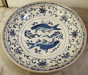 A Chu Dau Blue and white patterns dish, was made during the reign of Le Thanh Tong. Musee Guimet, Paris. Vietnam, grande ciotola, xv sec.JPG