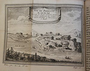 Beryozovo, Khanty-Mansi Autonomous Okrug - View of Beryozovo from the south, showing Ostyak canoes, mid-18th century, from Continuation de l'histoire générale des voyages, vol. 72, 1768