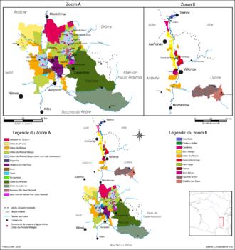 "Côtes du Rhône AOC - Detailed map of the Rhône wine region, with separate maps of Southern Rhône (""Zoom A"") and Northern Rhône (""Zoom B"")."