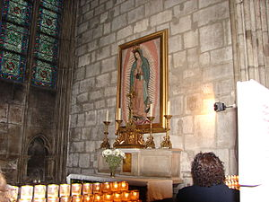 Mexicans in France - Chapel of the Virgin of Guadalupe at the Cathedral of Notre Dame, Paris, France.