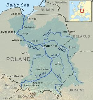 Wieprz - Image: Vistula river map