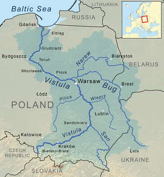 Vistula River drainage basin in Ukraine, Belarus and Poland