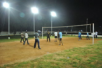 Rangaraya Medical College - students playing in the renovated volleyball court