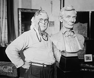 """William Clark Noble - """"William Clark Noble poses next to his bust of Abraham Lincoln, 1924."""""""