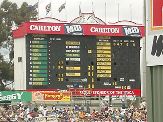 South African cricket team in Australia in 2005–06 - The scoreboard at lunch on day one