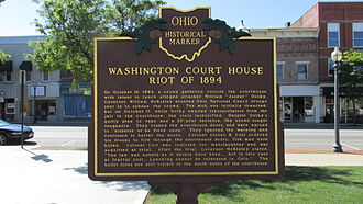 Washington Court House, Ohio - Ohio Historical Marker on the front lawn of the Fayette County Courthouse