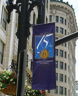 Western Governors University - Flag in downtown Salt Lake City, Utah celebrating WGU's 15th anniversary