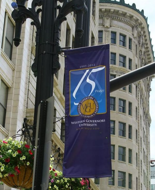 Flag in downtown Salt Lake City, Utah celebrating WGU's 15th anniversary WGUFlag.jpg