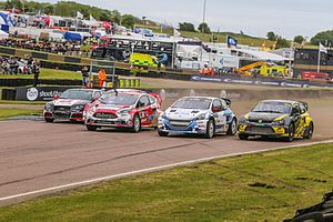 2015 World RX of Great Britain - Alx Danielsson, Manfred Stohl, Andreas Bakkerud, Jānis Baumanis and Tanner Foust