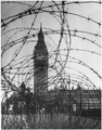 "WWII, Europe, London, England, ""Big Ben with barbed wire entanglement"" - NARA - 195565.tif"