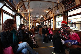 City Circle tram - Interior of a W class tram in City Circle service