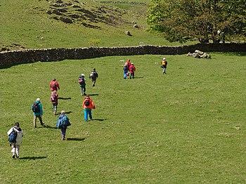 English: Walking across a field. Walk this way!