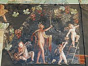 Wall painting with Dionysian scenes from a luxurious Roman villa excavated to the south of the cathedral, Romisch-Germanisches Museum, Cologne (8119154487)