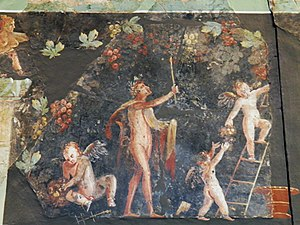 Cologne - Fresco with Dionysian scenes from a Roman villa of Cologne, Germany (site of the ancient city Colonia Claudia Ara Agrippinensium), 3rd century AD, Romano-Germanic Museum