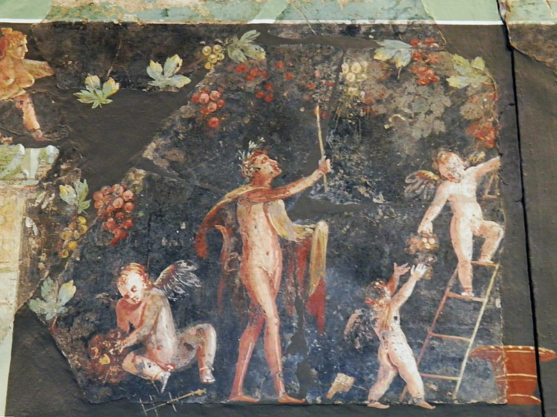 Wall painting with Dionysian scenes from a luxurious Roman villa excavated to the south of the cathedral, Romisch-Germanisches Museum, Cologne (8119154487).jpg