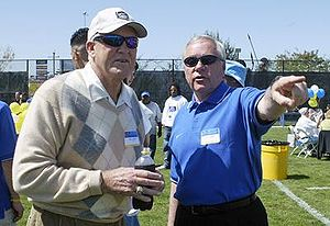 Bill Walsh (American football coach) - Walsh (left) with Dick Tomey at San Jose State in 2007