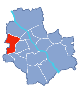 Location of Bemowo within Warsaw