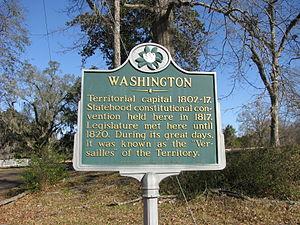 Washington, Mississippi - Historical plaque in Washington