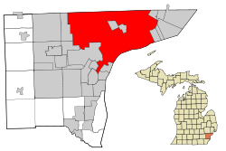 Wayne County Michigan Incorporated and Unincorporated areas Detroit highlighted.svg