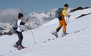 Ski touring - Free heels are a defining characteristic of Ski touring