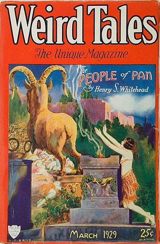 """Henry S. Whitehead - Whitehead's novelette """"The People of Pan"""" was the cover story in the March 1929 Weird Tales"""