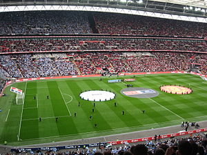 Manchester derby - Wembley pictured before the 2010–11 Semi-final – only the second FA Cup semi-final between both clubs and the first ever meeting at Wembley (new or old).