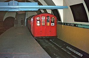 Glasgow Subway - West Street subway station in 1966 with red painted train