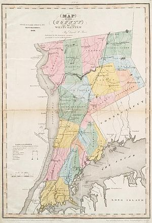 Timeline of town creation in Downstate New York - Westchester County in 1839, which included the future Bronx County.