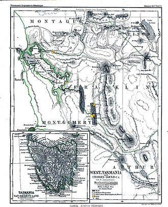 West Coast, Tasmania - Western Tasmania and South West Tasmania with natural resources on 1865 map