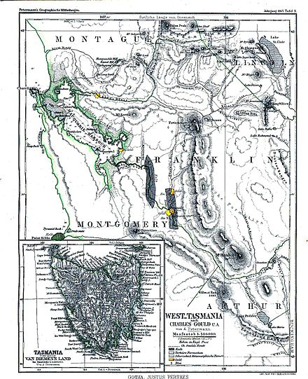 Western Tasmania and South West Tasmania with natural resources on 1865 map WesternTasmania1865.jpg