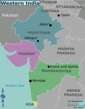 Western india travel guide at wikivoyage western india regions color coded map gumiabroncs Image collections