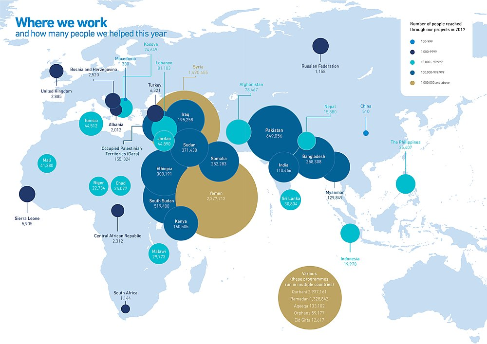 A 2017 map of where Islamic Relief works