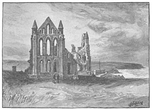 Whitby Abbey - The ruins of Whitby Abbey in a 1909  book illustration.