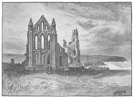 Ruins of Whitby Abbey in North Yorkshire, England-- founded in 657 by St. Hilda, the original abbey fell to a Viking attack in 867 and was abandoned. It was re-established in 1078 and flourished until 1540 when it was destroyed by Henry VIII. Whitby Abbey - Project Gutenberg eText 16785.jpg