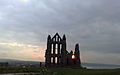 Whitby Abbey at sunset (April 19 2010).jpg