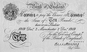 Bank of England £10 note - A £10 note, issued from Manchester in 1919.