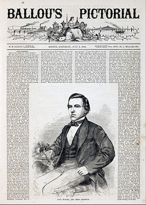 Paul Morphy - Engraving of Paul Morphy by Winslow Homer appearing in Ballou's Pictorial (1859)