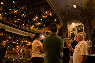 Elgin and Winter Garden Theatres - The Winter Garden was designed to be an atmospheric garden, with painted walls in watercolours, and the ceiling is decorated with lanterns and dried beech leaves.