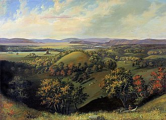 British Band - The Wisconsin Heights Battlefield in a 19th-century painting. It was the site of the British Band's penultimate battle.