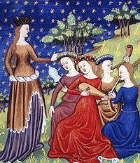 De claris mulieribus: Quatre suivantes de la Reine jouant de la musique. Illustration du début du XVe siècle, conservée à la British Library. Travail de Giovanni Boccaccio.
