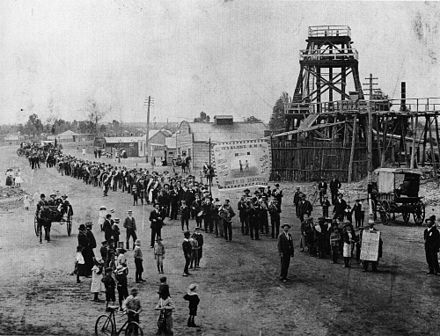 Eight-hour day procession by miners in Wyalong, New South Wales - late 1890s Wyalong eight hour day.jpg
