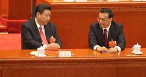 19th National Congress of the Communist Party of China - On the Politburo Standing Committee, Xi Jinping (left) and Li Keqiang (right) renewed their terms, while five new members joined