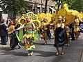 Yellow samba dancers from Império do Papagaio at Kallio Kukkii 2019.jpg