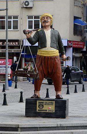 Silivri - Statue of historic yogurtman in Silivri