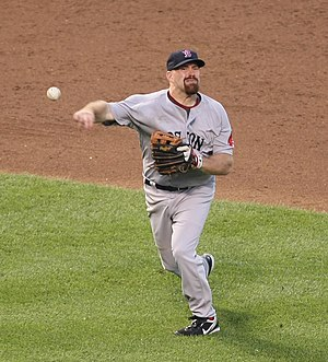 English: Kevin Youkilis in the field.