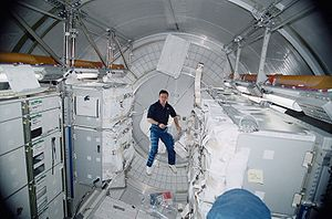Multi-Purpose Logistics Module - 21 March 2001 – Cosmonaut Yuri P. Gidzenko is shown within Leonardo.