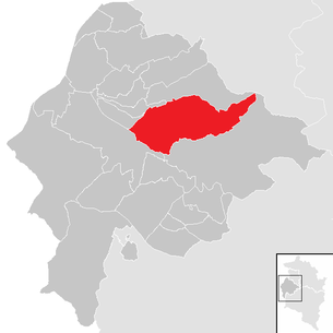Location of the municipality of Zwischenwasser in the Feldkirch district (clickable map)