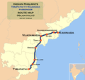 (Tirupathi - Kakinada) Passenger train route map.png