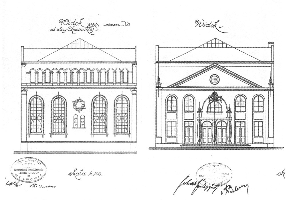Plan de la synagogue Tsori Gilod de Lviv par Albert Kornblüth.