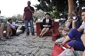 Adina Bar-Shalom - Image: עדינה בר שלום במאהל כיכר המדינה ,